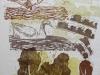 утки, дементьева наталья николаевна,цв. ксилография, 50х65,2014год