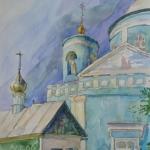 Ачинск.Храм в солнечный день,бумага,акварель,2012