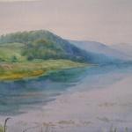 Утро над рекой,бумага,акварель,2012