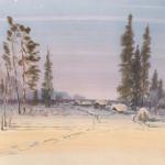 6. Свежий снег. бум., акв., 70х90, 2001г.